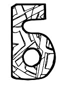 Abstract russian cyrilic letter Б coloring page
