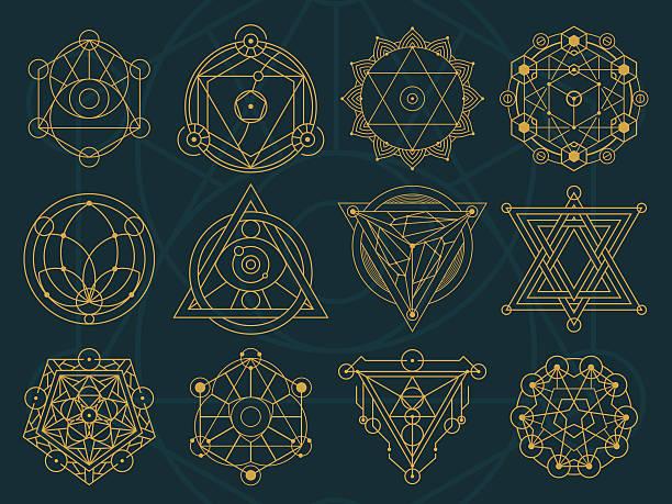 Abstract Sacred Geometry and Magic Symbols Set 1 vector art illustration