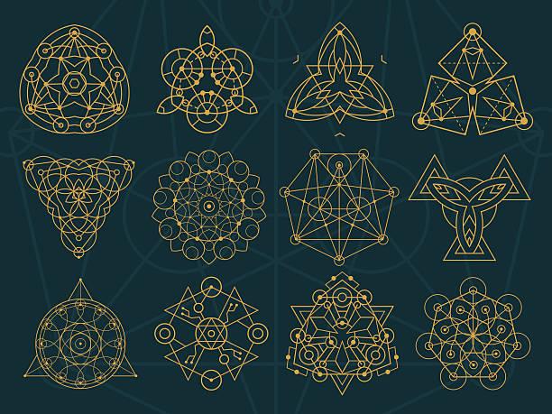 Abstract Sacred Geometry and Magic Symbols Set 2 vector art illustration