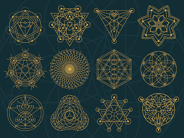 Abstract Sacred Geometry and Magic Symbols Set 3 vector art illustration