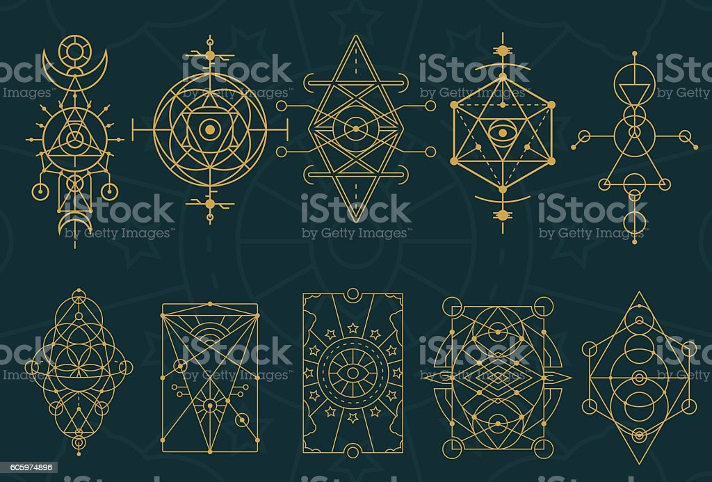 Abstract Sacred Geometry and Magic Symbols Set 4 vector art illustration