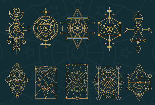 bildbanksillustrationer, clip art samt tecknat material och ikoner med abstract sacred geometry and magic symbols set 4 - mysterium