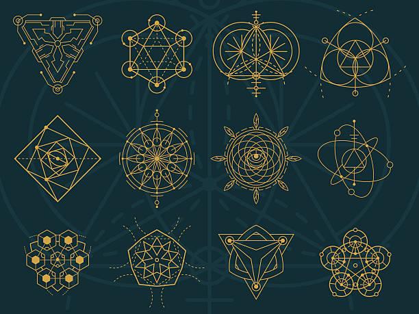 Abstract Sacred Geometry and Magic Symbols Set 5 vector art illustration