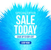 Abstract sale banner in bright blue color for special offers, sales and discounts. 60% off. Vector colorful fluffy background