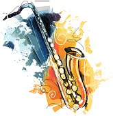 image shows a saxophone with different sketchy colors; vectorimage,drawing with graphic tablet; with big jpeg (350dpi); without opening paths; only one layer; better for wite background