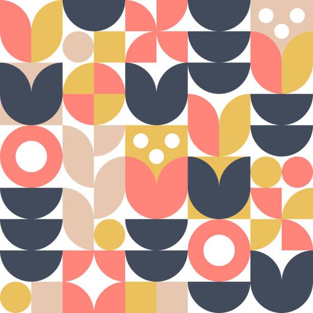 bildbanksillustrationer, clip art samt tecknat material och ikoner med abstrakt skandinavisk blomster bakgrund. vektor sömlöst mönster. - tulpaner