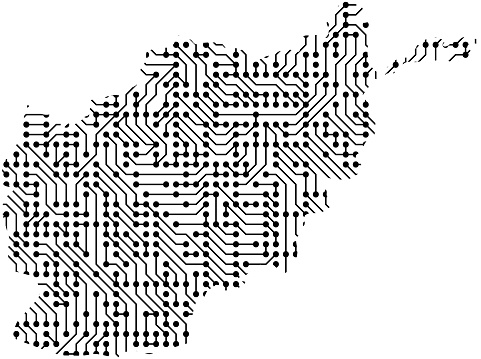 Abstract Schematic Map Of Afghanistan From The Black