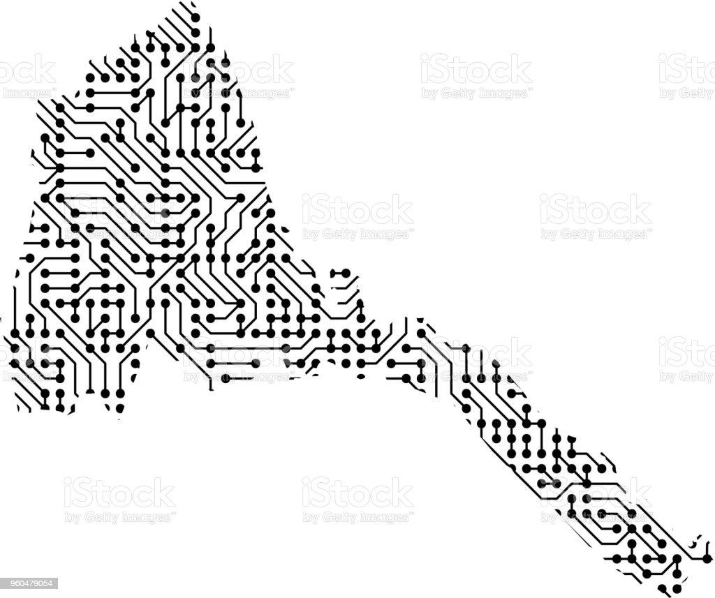 Abstrakte Schematische Karte Von Eritrea Aus Schwarz Gedruckte Board ...