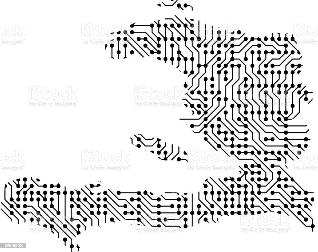 Abstrakte Schematische Karte Von Haiti Von Den Schwarz Gedruckten ...