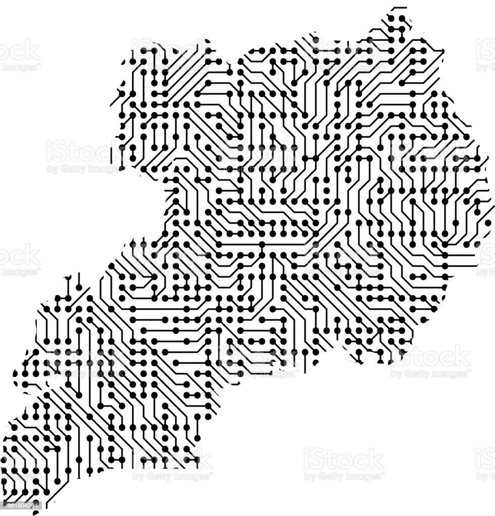 Abstrakte Schematische Karte Von Uganda Aus Schwarz Gedruckte Board ...