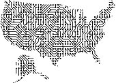Abstract schematic map of United States of America from the black printed board, chip and radio component of vector illustration