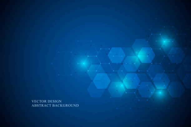 Abstract science and technology concept from hexagonal elements. Polygonal geometric design with hexagons pattern. Hi-tech digital background, vector illustration vector art illustration