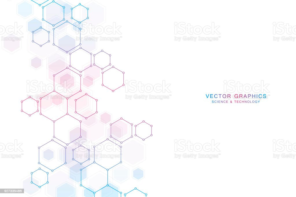 Abstract science background with hexagons and molecules vector art illustration