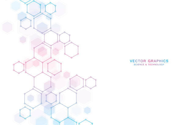 Abstract science background with hexagons and molecules Abstract science background with hexagons and molecules hexagon stock illustrations