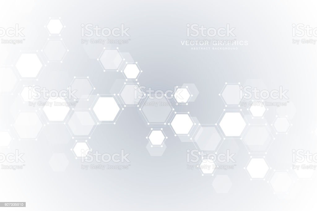 Abstract Science Background With Hexagons And Molecules Royalty Free Open Comp