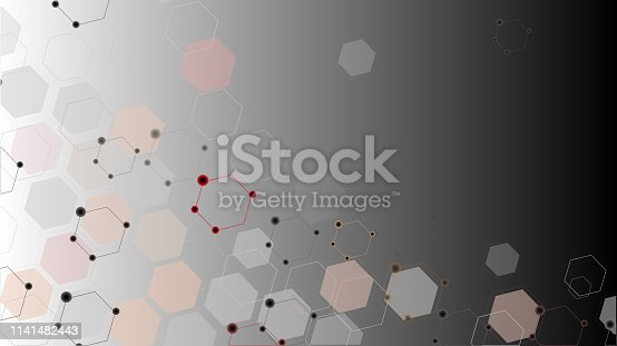 istock Abstract science background with hexagons 1141482443