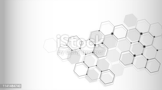istock Abstract science background with hexagons 1141484740