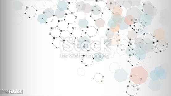istock Abstract science background with hexagons 1141488908