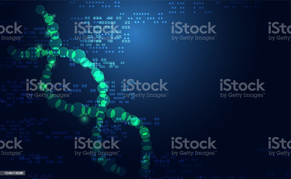 Abstract Science health medical consist DNA digital technology concept Background futuristic science on hi tech future blue technology background. for template, web design or presentation. vector art illustration