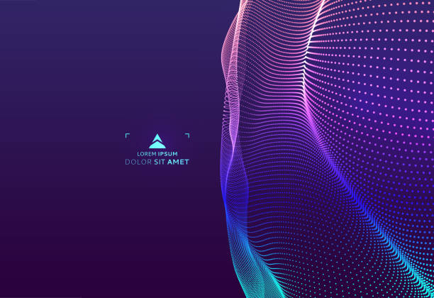 Abstract science or technology background. Graphic design. Network illustration with particle. 3D grid surface. vector art illustration