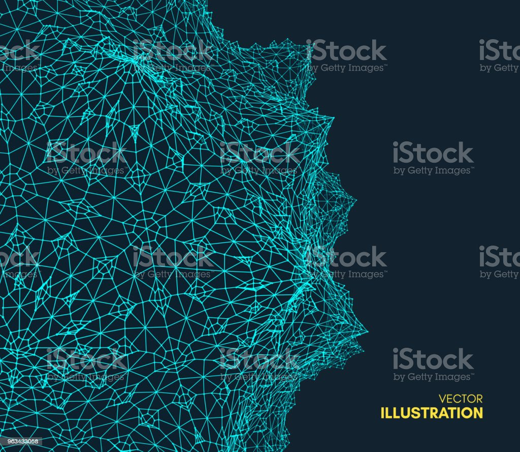 Abstract science or technology background. Graphic design. Network illustration with particle. 3D grid surface. Can be used for wallpaper, presentation, banner and cover. - Grafika wektorowa royalty-free (Abstrakcja)