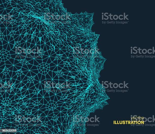 Abstrakcyjne Tło Naukowe Lub Technologiczne Projekt Graficzny Ilustracja Sieciowa Z Cząstką Powierzchni Siatki 3d Może Być Używany Do Tapet Prezentacji Baneru I Okładki - Stockowe grafiki wektorowe i więcej obrazów Abstrakcja