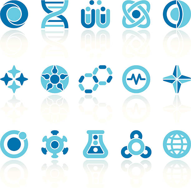 abstract science symbols - bio tech stock illustrations, clip art, cartoons, & icons