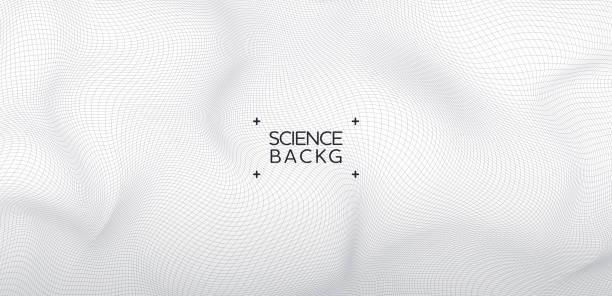 stockillustraties, clipart, cartoons en iconen met abstract & science technology achtergrond. netwerk, deeltjes illustratie. 3d-raster oppervlak - gaas