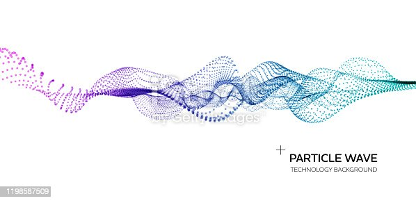 Abstract science technology background. Network, particle illustration. 3D grid surface. Layered illustration. Easy to edit.