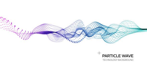Abstract & Science Technology Hintergrund. Netzwerk, Partikel-Illustration. 3D-Rasteroberfläche – Vektorgrafik