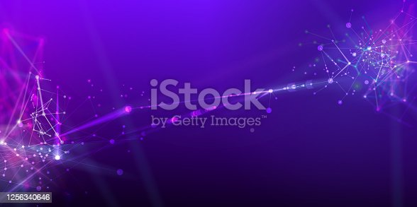 istock Abstract & science technology background. Network, particle illustration. 3D grid surface 1256340646