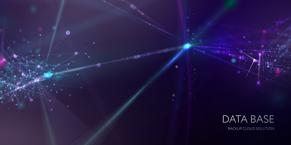Abstract & science technology background. Network, particle illustration. 3D grid surface