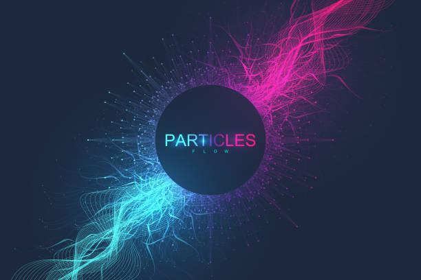 Abstrakter wissenschaftlicher Hintergrund mit dynamischen Teilchen, Wellenfluss. 3D-Datenvisualisierung mit fraktalen Elementen. Cyberpunk-Stil. Digitale Vektor-Illustration – Vektorgrafik