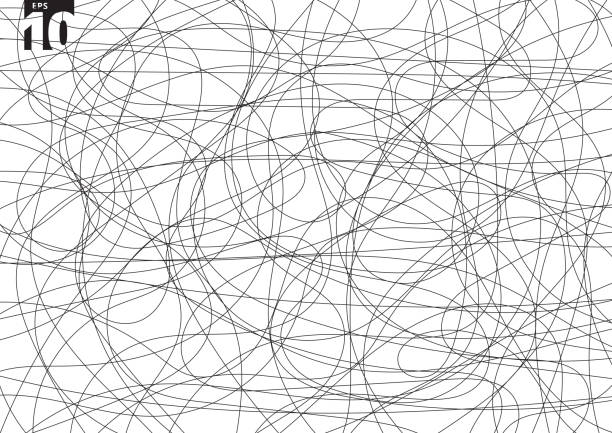 stockillustraties, clipart, cartoons en iconen met abstract krabbelen creatieve tangle op witte achtergrond. hand getekende bedekt schets chaos doodle patroon. - chaos