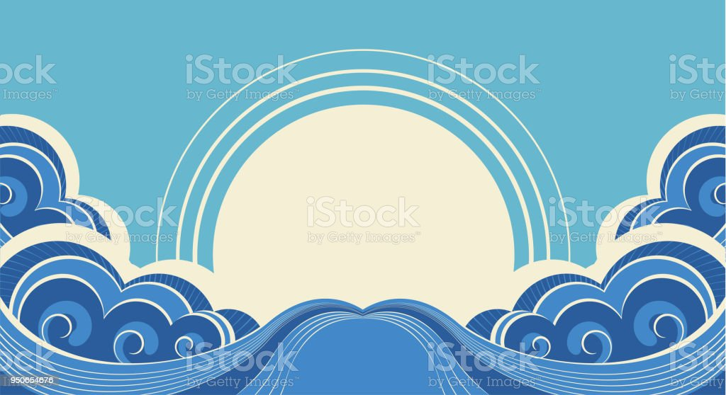 Abstract sea waves. Vector illustration of sea landscape vector art illustration