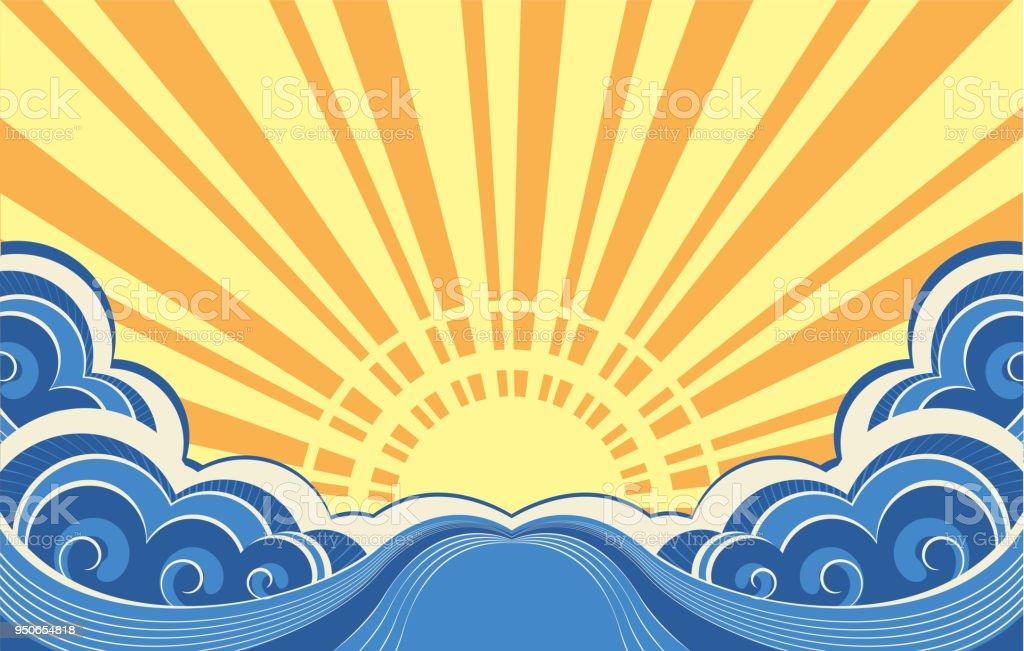 Abstract sea waves. Vector illustration of seascape vector art illustration