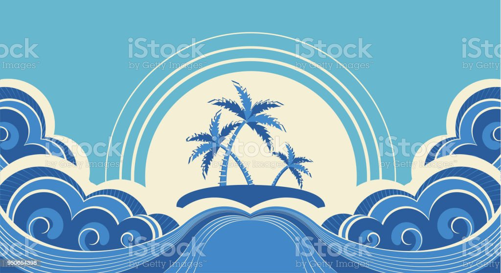 Abstract sea waves. Vector illustration of tropical palms on island vector art illustration