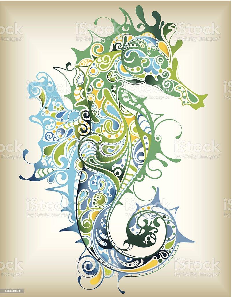 Abstract Seahorse vector art illustration