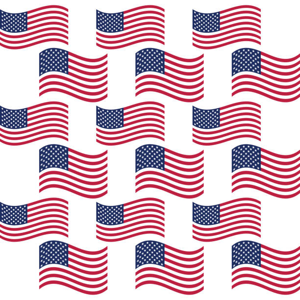 Abstract seamless background with USA flag with fireworks pattern, part 6 vector art illustration