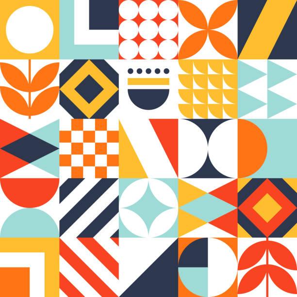 추상적인 이음새있는 바우하우스 패턴. 벡터 다채로운 기하학적 배경입니다. - 정사각형 구성 stock illustrations