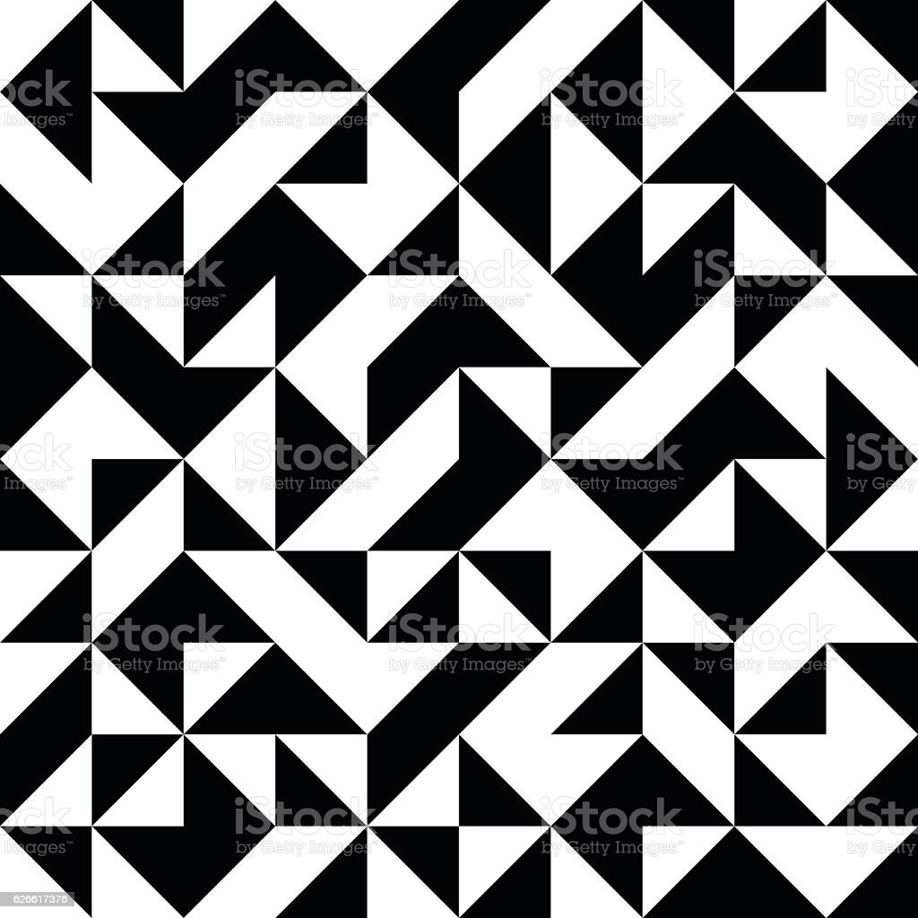 abstract seamless black and white pattern with triangles vector art illustration