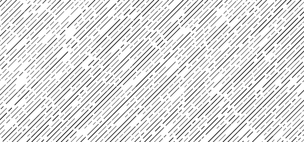Abstract seamless black dash lines diagonal pattern on white background