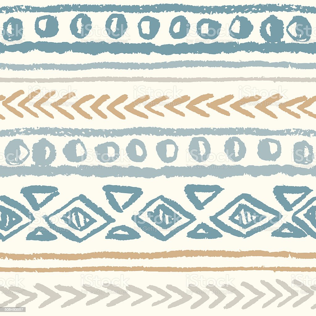 Abstract seamless ethnic pattern, hand-painted. vector art illustration
