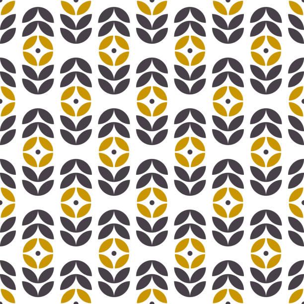 bildbanksillustrationer, clip art samt tecknat material och ikoner med abstrakta sömlösa geometriska mönster i skandinavisk stil. retro blomstermotiv. vektor tapeter. - swedish nature