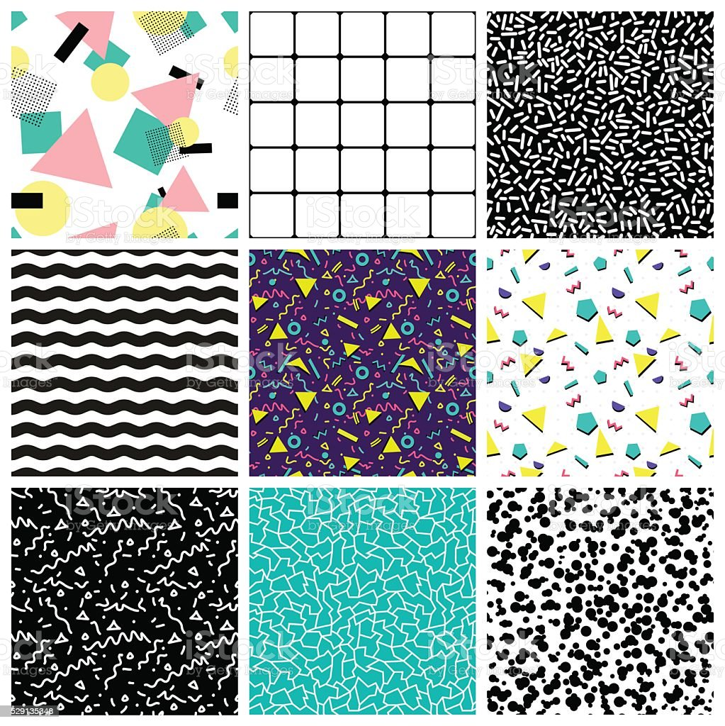 Abstract seamless geometric patterns. 80's-90's styles. - ilustración de arte vectorial
