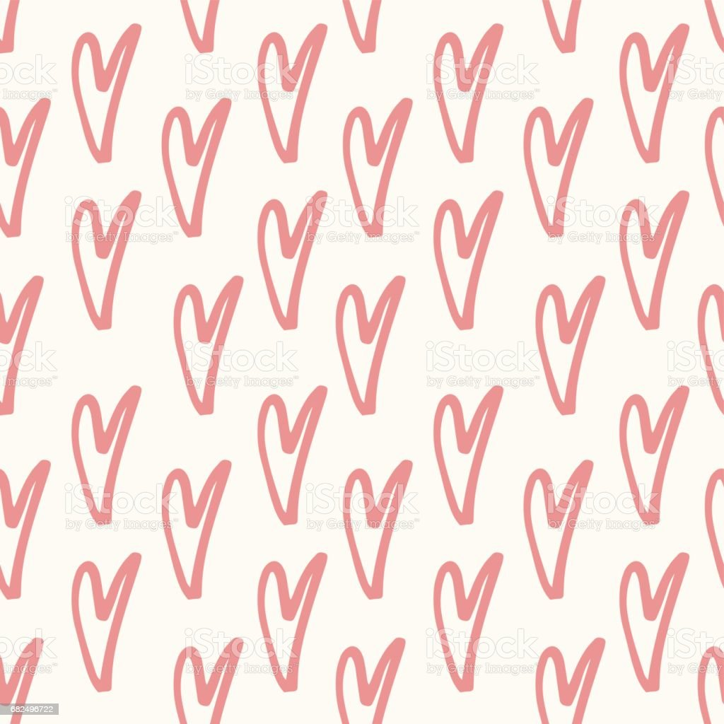 Abstract seamless heart pattern. Hand drawn doodle. Ink and brush vector illustration. Pink and white. abstract seamless heart pattern hand drawn doodle ink and brush vector illustration pink and white - immagini vettoriali stock e altre immagini di alla moda royalty-free