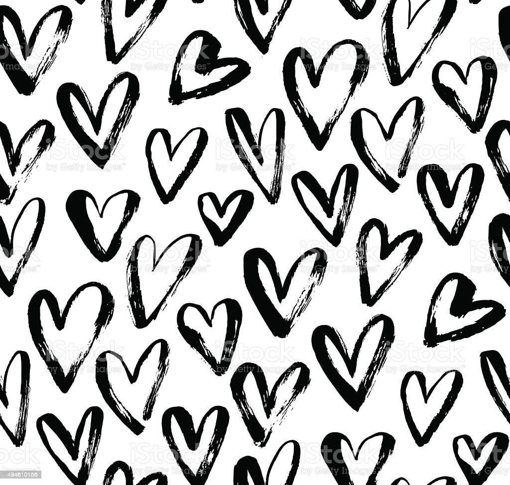 Abstract seamless heart pattern. vector art illustration
