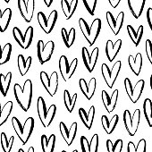 Abstract seamless heart pattern. Simple geometric texture.Background for Valentines day. Modern vector monochrome ornament for wrapping paper, wallpapers, web design etc.