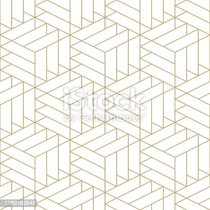 istock Abstract seamless ornamental gold pattern - geometric design.Vector minimalistic background 1189183545
