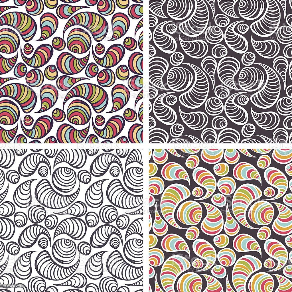 Abstract seamless pattens set. royalty-free stock vector art